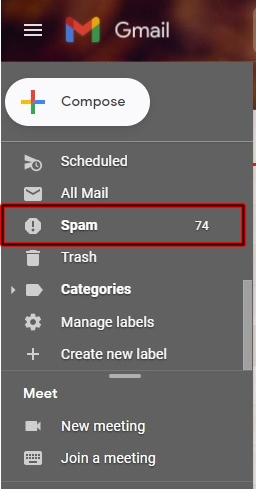 Gmail spam email Email folder
