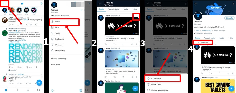 All steps on how to pin a tweet on phone